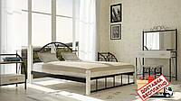 Кровать металлическая кованная Анжелика на деревянных ножках двуспальная, фото 1