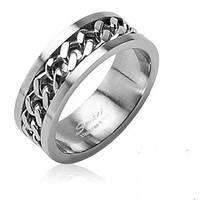 "Кольцо Stainless Steel ""Цепь"" в серебряном цвете"