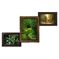 Мультирамка из дерева Лесенка на 3 фотографий (золотой шоколад)