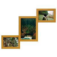 Мультирамка из дерева Лесенка на 3 фотографий (золото)