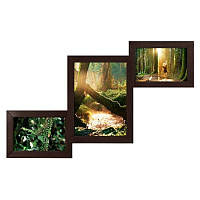 Мультирамка из дерева Лесенка на 3 фотографий (Венге)