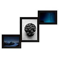 Мультирамка из дерева Лесенка на 3 фотографий (чёрный)