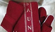 Мужской махровый комплект для сауны бордовый (красный), с тапочками, Турция