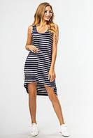 Синее платье с ассиметричным низом