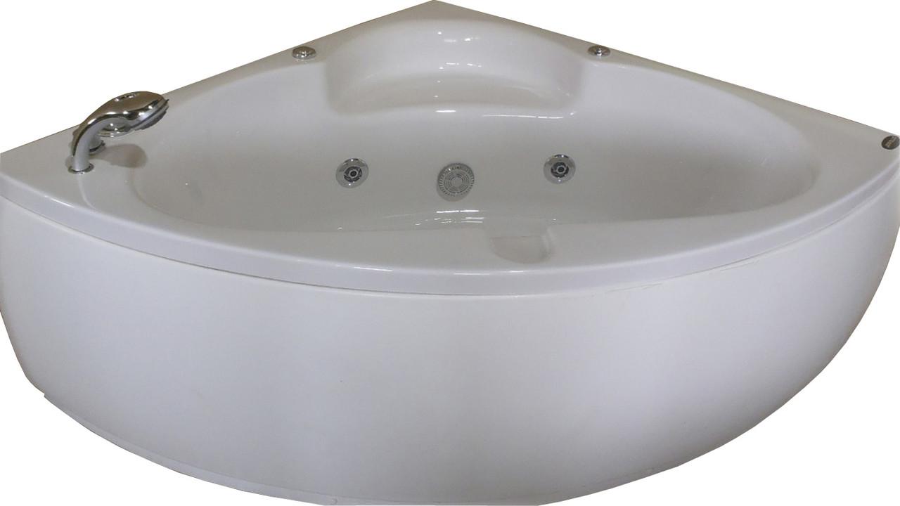 Ванна угловая с гидромассажем и пневмокнопкой 1400*1400*620 мм, со смесителем APPOLLO