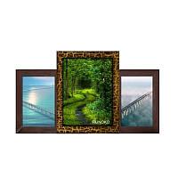 Мультирамка из дерева Пьедестал на 3 фотографий (золотой шоколад)