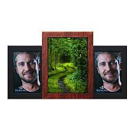 Мультирамка из дерева Пьедестал на 3 фотографий (медное мерцание)