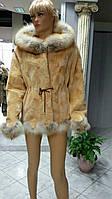 Норковая шуба бежевого цвета  длинный рукав с воротником окантовка Лиса Писец Чернобурка на выбор размер 46-48