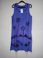 Платье фиолетовое с пальмами, роспись - ручная работа, до 52 р-ра