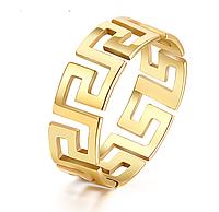 """Кольцо Stainless Steel """"Узор Versace"""" в золотом цвете"""