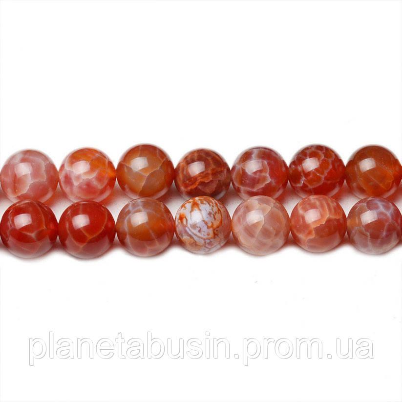 8 мм Красный Огненный Агат, CN302, Натуральный камень, Форма: Шар, Отверстие: 1мм, кол-во: 47-48 шт/нить