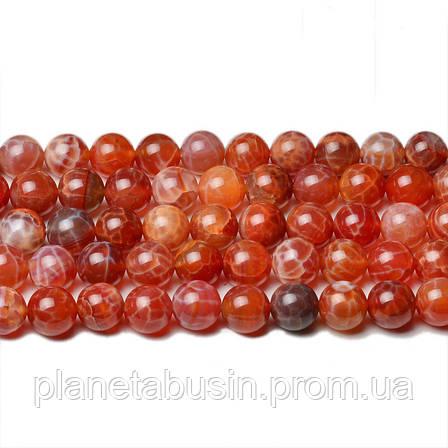8 мм Красный Огненный Агат, CN302, Натуральный камень, Форма: Шар, Отверстие: 1мм, кол-во: 47-48 шт/нить, фото 2