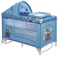 Кровать-манеж Lorelli Nanny 2 layers plus rocker blue adventure (10080161610)