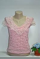 Гипюровая нежная женская футболка, фото 1