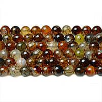 Агат Коричневые Вены, Натуральный камень, бусины 8 мм, Шар, Отверстие 1 мм, количество: 47-48 шт/нить