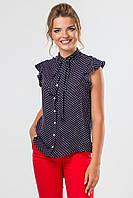 Темно-синяя блузка в мелкий горошек