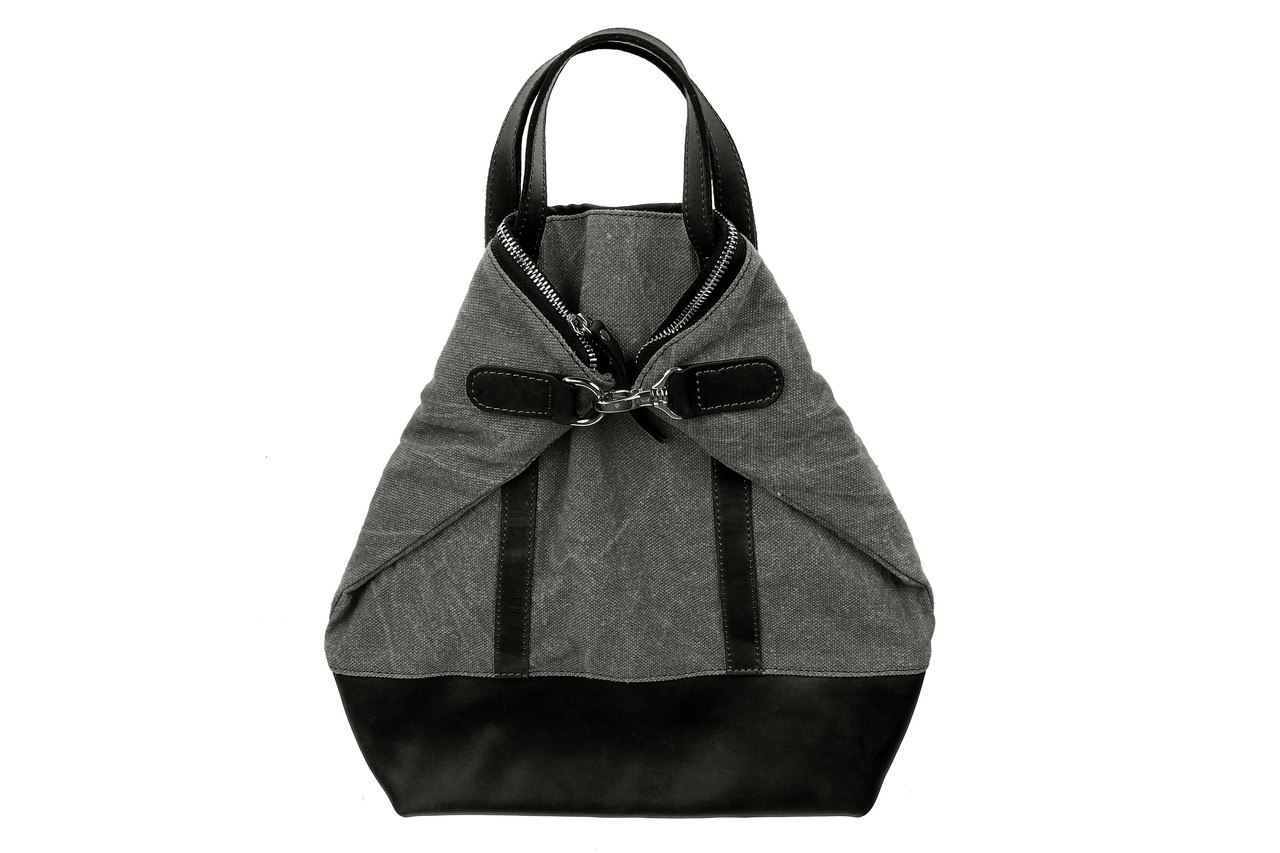 Рюкзак-сумка трансформер, серый и черный, 35х35 см.