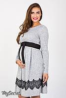 Удобное платье для беременных и кормящих Medina, серый меланж