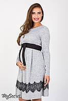 Удобное платье для беременных и кормящих Medina, серый меланж, фото 1