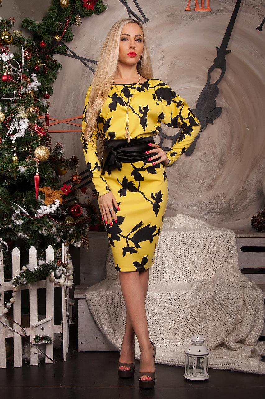 Платье женское модель №173-1, размер 52 желтое