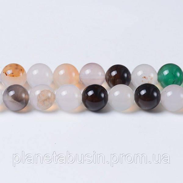 8 мм Агат Микс, CN305, Натуральный камень, Форма: Шар, Отверстие: 1мм, кол-во: 47-48 шт/нить