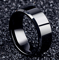 Кольцо Stainless Steel глянцевое в чёрном цвете