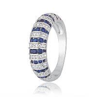 """Серебряное кольцо с имитацией сапфира """"204"""""""