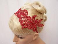 Повязка для волос. Аксессуар для волос кружево, цветы. Бордовый.