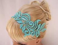 Повязка для волос. Мятный цвет. Аксессуар, ободок для волос кружево, цветы.