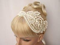 Веночек свадебный. Аксессуар для волос кружево, цветы. Повязка для волос.