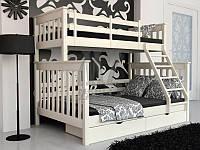 """Кровать трехместная двухъярусная деревянная """"Олигарх"""" (белая)"""