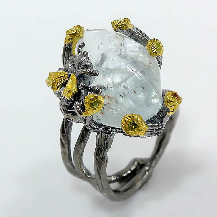 Кольцо серебро 925 пробы аквамарин