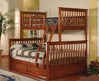 """Кровать трехместная двухъярусная деревянная """"Олигарх"""" (цвет орех)"""