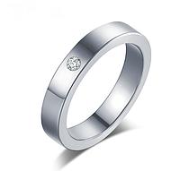 Кольцо Stainless Steel в серебряном цвете с камнем