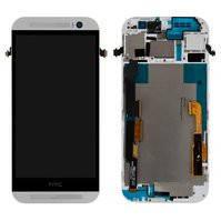 Дисплей (экран) для HTC One E8 Dual Sim + с сенсором (тачскрином) и рамкой серебристый Оригинал