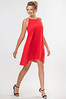 Красное платье с ассиметричным низом