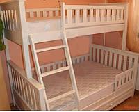 """Кровать двухъярусная трехместная деревянная """"Жасмин"""" (белая))"""