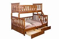"""Кровать двухъярусная трехместная с лестницей до первого этажа """"Жасмин"""" (лак)"""