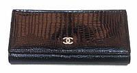 Женский кошелек Chanel черный кожа с монетницей