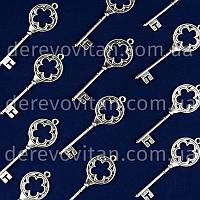 Декоративный ключик с цветком, серебро, 7.8 см, 10 шт.