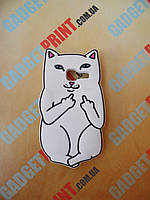 Объемный 3D силиконовый чехол для Samsung Galaxy J1mini J105 белый кот