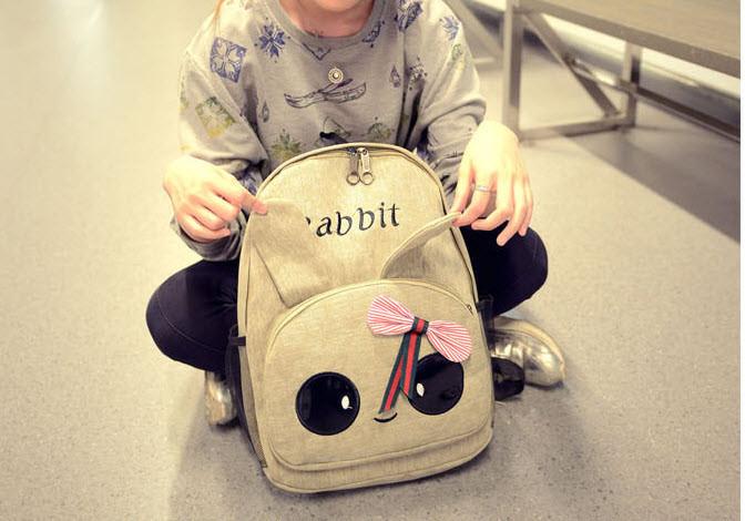 Милый тканевый рюкзак зайчик с глазками и ушками