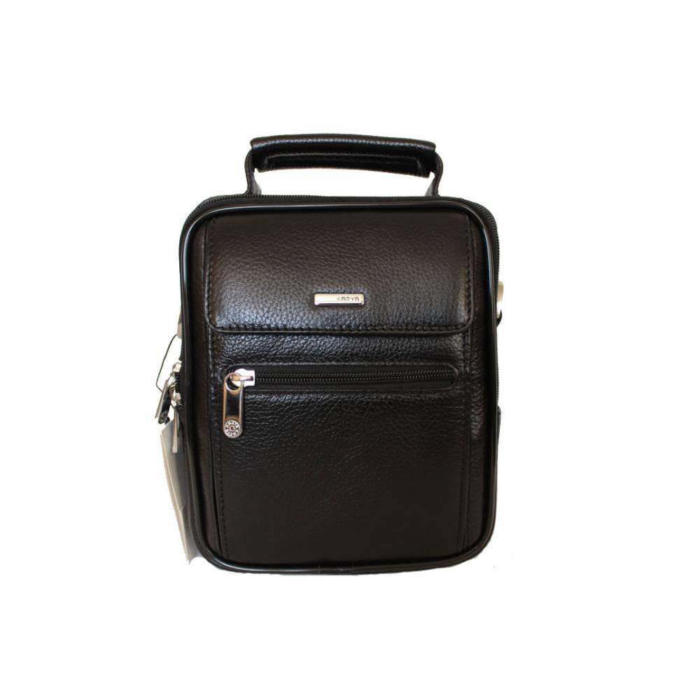 Мужская сумка Karya 0347-45 через плечо кожаная черная