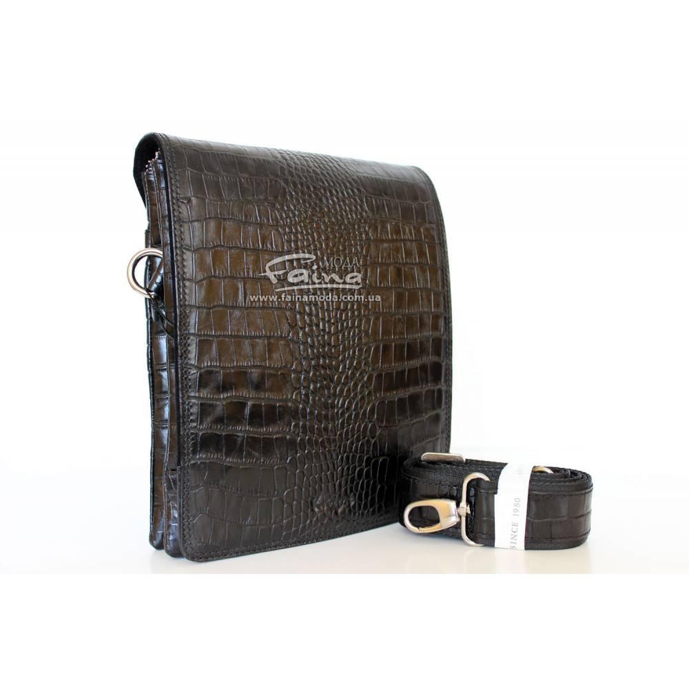Мужская сумка Karya 0366-53 через плечо кожаная черная
