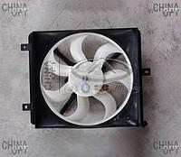Дифузор радиатора, правый, в сборе с вентилятором, три крепления, Geely MK1 [1.6, до 2010г.], 1602192180, Aftermarket