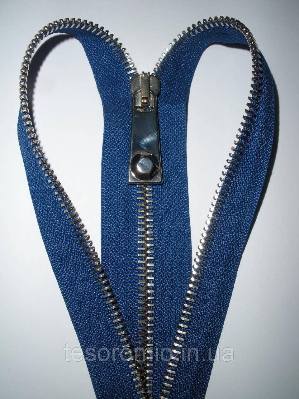 Молния металлическая разъемная 37см, 1 бегунок, тип 6. Основа - синий электрик, зубцы - золото.