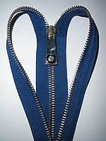 Молния металлическая разъемная 37см, 1 бегунок, тип 6. Основа - синий электрик, зубцы - золото., фото 1