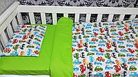 Комплект постельного белья в детскую кроватку машинки зеленые