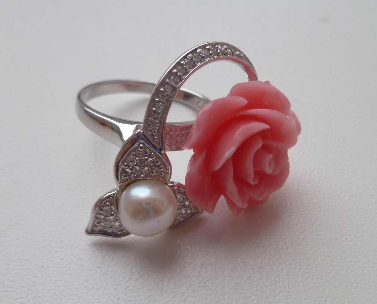 Кольцо с натуральным жемчугом, W-CZ Роза. Размер.17.35