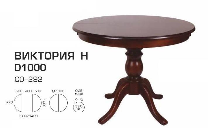 Стол раскладной Виктория Н шпон 1000(1400)*1000 круглый, фото 2